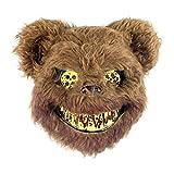Delaspe Máscara de felpa de Halloween con oso de conejo, máscara de terror, disfraz de Halloween para Halloween, cosplay, fiesta de carnaval