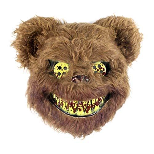 Bsopem Mscara de peluche realista para Halloween, disfraz de oso de conejo de terror para cosplay, para adultos y nios