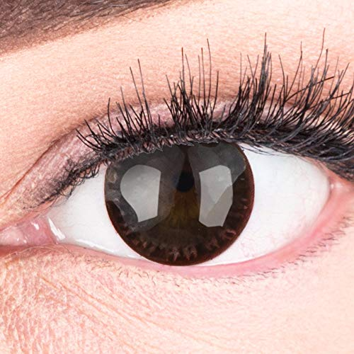 Dunkelbraune Farbige Kontaktlinsen Choco Dunkelbraun Sehr Stark Deckende SILIKON COMFORT NEUHEIT von GLAMLENS + Behälter - 1 Paar (2 Stück) - DIA 14.00 - ohne Stärke 0.00 Dioptrien
