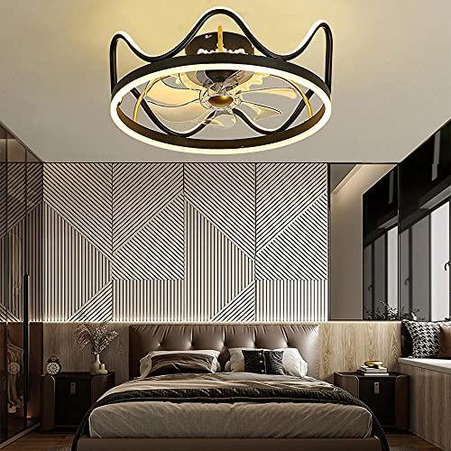 Ventilatore da Soffitto con Luce e Telecomando Dimmerabile Ventilatore a LED Invisibile Moderno e Creativo 3 velocità 3 colori, Moderne Fan Sala Pranzo Soggiorno Camera da Letto