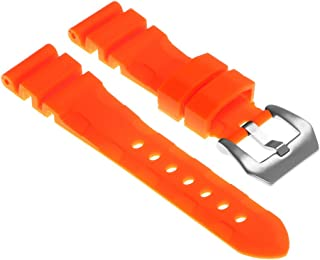 StrapsCo Rubber Silicone Watch Band Strap with Brushed Stainless Steel Pre-V Buckle 22mm 24mm 26mm