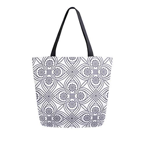 Bolso de mano con asa superior, diseño étnico, floral, sin costuras, con mandalas, bolsa de lona lavada, para mujeres y niñas