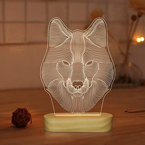 Lámpara 3D de lobo para niños, decoración de dormitorio, luz nocturna, colores cálidos, lámpara de base de madera para amigos, regalos