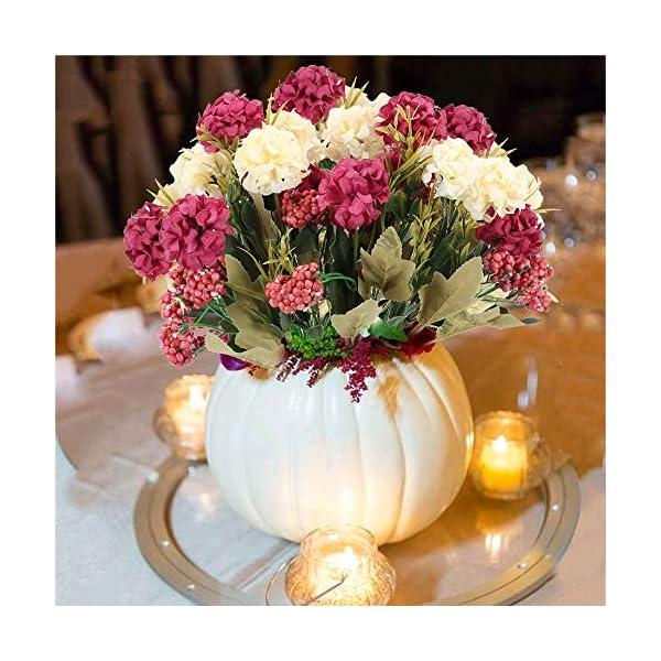 HUAESIN 2pcs Ramo de Flores Artificiales Hortensias 7 Cabezas Flores de Plastico Claveles Ramo Flores de Tela para…