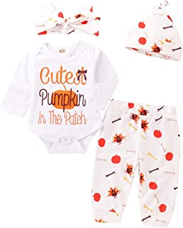 4Pcs Set My First Thanksgiving Outfit Toddler Baby Long Sleeve Romper Tops+ Pants + Hat + Headband Clothes Set