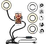 THE MOVAC. Anillo de luz LED con Soporte de Brazo Flexible para Cualquier móvil. Aro de luz para Maquillaje, Selfie, Youtube Videos/Foto/Instagram Alimentado por Cable USB + 3 Tipos de luz Regulable.