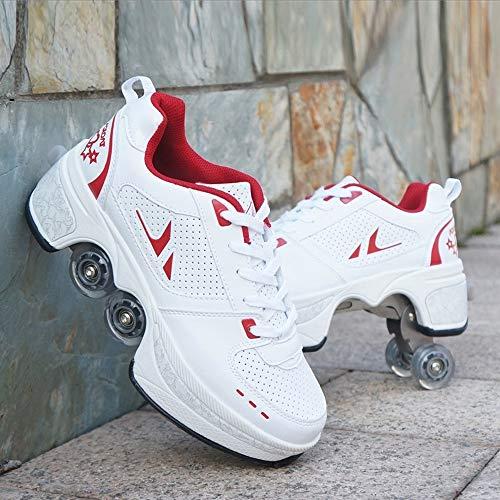 JTKDL Rollschuhschuhe Mit Doppelrädern Rollschuhe Einziehbarer Inline-Skateboardschuh Sport Outdoor Running Gym Sneaker,WhiteRed-41