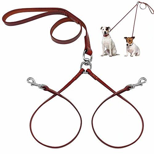 Pet Artist Hundeleine aus weichem Leder, 2-Wege-Leine für kleine Hunde, Welpen, leichtgewichtig, mit Schnalle, ohne Verheddern