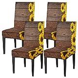 Juego de 4 fundas para sillas de comedor, fundas elásticas para sillas de comedor, lavables, protector de asiento extraíble para cocina, hotel, restaurante y fiesta