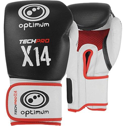 Optimum Tech Pro X14 Leder-Boxhandschuhe, Mehrfarbig, 284 g