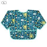 Funihut Baberos de bebé con Mangas, algodón Impermeable de Manga Larga, Babero con Bolsillo Frontal, Babero para niños de 6 Meses a 3 años, E