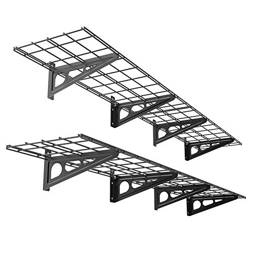 FLEXIMOUNTS 2-Pack 1x4ft 12-inch-by-72-inch Wall Shelf Garage Storage Rack Wall Mounted Floating Shelves, Black
