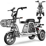 ZLM Bicicleta Eléctrica De 3 Ruedas, Scooter Eléctrico para Adultos, Triciclos De Montaña Todo Terreno Ligeros Y Compactos De 12 Pulgadas con Bloqueo Eléctrico, Asiento para Niños,25ah