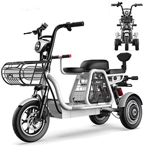 ZLM Bicicleta Eléctrica De 3 Ruedas, Scooter Eléctrico para Adultos, Triciclos De Montaña Todo Terreno Ligeros Y Compactos De 12 Pulgadas con Bloqueo Eléctrico, Asiento para Niños,30ah