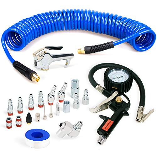 FYPower 22 Pieces Air Compressor Accessories kit, 1/4 inch x 25 ft Recoil Poly Air Compressor Hose Kit, 1/4' NPT Quick Connect Air Fittings, Tire Inflator Gauge, Heavy Duty Blow Gun, Swivel Plugs