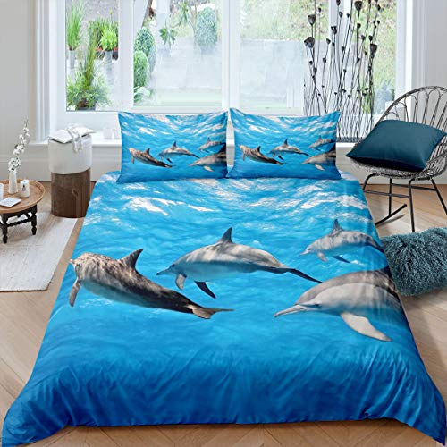 Erosebridal Dolphin Duvet Cover, Marine Life Pattern Quilt Cover, Underwater Word Bedding Set, Ocean Comforter Cover with Zipper Closure for Kids Boys (1 Duvet Cover with 2 Pillow Cases) King Size