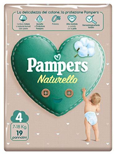 Pampers Naturello 19 Windeln aus Baumwolle und natürlichen Materialien, die von Pflanzen abgeleitet werden, 0% Duft, Größe 4 (7-18 kg)