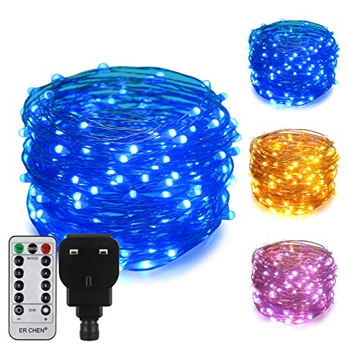 ErChen Dual-Color LED String Lights, 66 FT 200 LEDs Plug in Copper Wire 8 Modes Dimmable Fairy Lights with Remote Timer for Indoor Outdoor Christmas (Blue/Warm White)