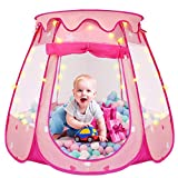 Pop Up Princess Tent, ZUOSEN Ball Pit Kids Play Tent with Star Light for Girls, Foldable and Portable Toddler Girl Toys with a Carrying Bag, Indoor and Outdoor Playhouse Girl Gift (Balls Not Included)