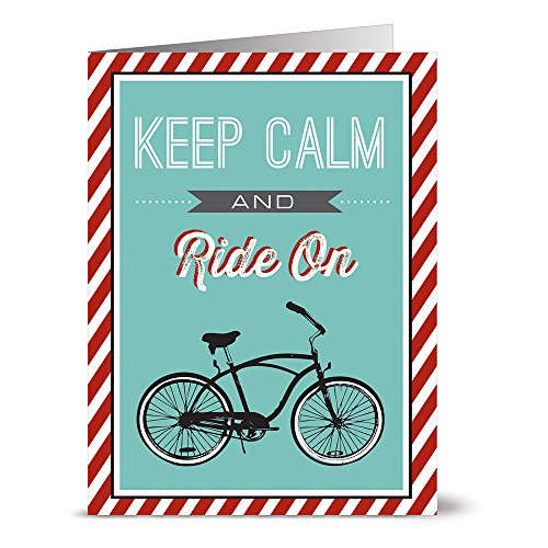 All Occasion Greeting Cards – 24 Pack - Unique Keep Calm and Ride On Design – KRAFT ENVELOPES INCLUDED – Blank Greeting Card – Glossy Cover Blank Inside – By Note Card Café