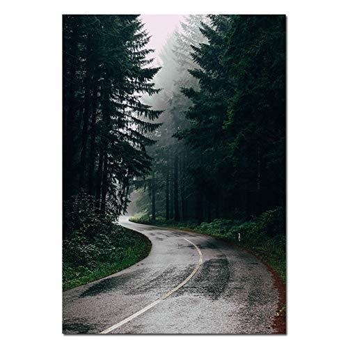 MJGW Leinwanddrucke Skandinavien Stil Leinwand Poster Und Drucke Mädchen Nebel Wald Landschaft Wand Kunst Malerei Nordic Dekoration Bild Home Decor