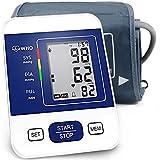 CAZON Oberarm-Blutdruckmessgerät Digitales BP-Gerät für den Heimgebrauch und Pulsfrequenz messgerät mit Manschette 22-32 cm 2 × 99 Speicher und LCD-Display (Blau)