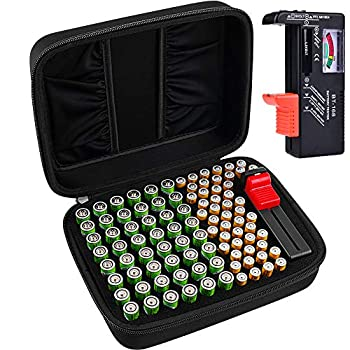 Battery Organizer Storage Box Case Holder for 48 x AA 48 x AAA Total 96 Batteries with Battery Tester Extra 2 Pockets for Other Accessories