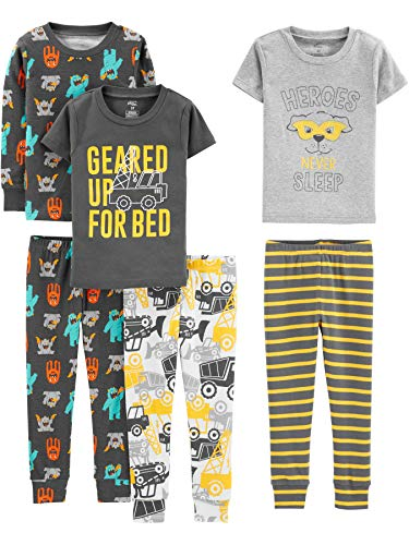 Simple Joys by Carter's Boys' Toddler 6-Piece Snug Fit Cotton Pajama Set, construction, 5T
