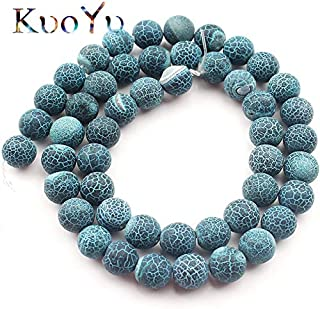 Natural Stone Beads, Natural Stone Frost Blue Cracked Dream Fire Dragon Veins Agates Onyx Beads Round Loose Spacer Beads for Jewelry Making 6/8/10Mm - (Dia:10Mm 36Pcs Beads)