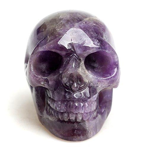 Healing Crystal Stone Human Reiki Skull Figurine Statue Sculptures Mixed Stone(Amethyst)