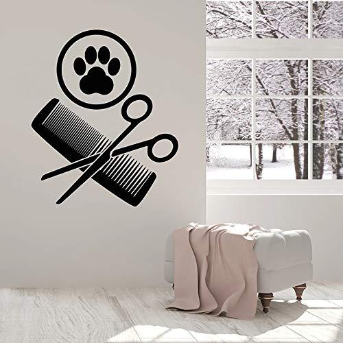 Ofomox Calcomanía de Pared Tijeras de Aseo Peine Pata Tienda de Mascotas Guardería Decoración de Interiores Puerta Ventana Vinilo Pegatinas Arte Creativo Mural 57x66 cm