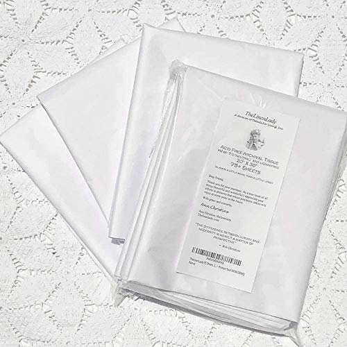 TheLinenLady 75 Sheets 20'x30' Acid Free Archival Tissue Paper Lignin Free~ Protect Your HEIRLOOMS!