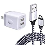 Fast Wall Charger Adapter with Android Micro USB Cable Plug Cube Compatible Samsung Galaxy J8 J7 Sky Pro Perx Star, J7V Prime, j3 Emerge, Luna Pro Eclipse Mission, On5/On7/On8/S3/J6/J2, 6.6 FT Cord