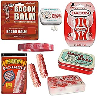 Deluxe Bacon Bath & Grooming Kit Gift Pack (5pc Set + Wristband) - Bacon Bandages, Dental Floss, Soap, Breath Mints & Lip Balm + Silicone Wristband