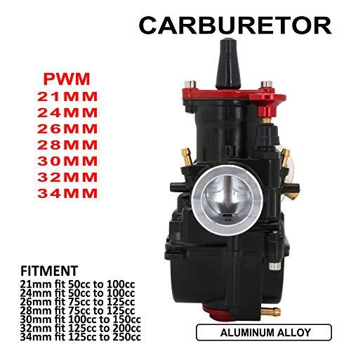Carburador PWK para motocicleta de 24 mm para Honda, Suzuki, Kawasaki, Yamaha de 50 cc a 100 cc ATV Dirt Bike (negro)