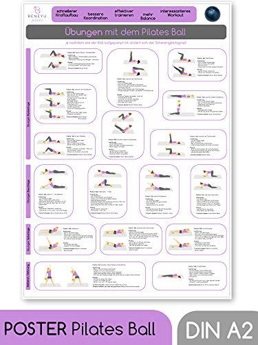 beneyu ® Pilates Poster für Pilates Ball/Gymnastikball Klein in Deutscht, DIN A2 (60x42cm) Klimaneutrale Produktion - (auf A4 gefalzt) (gefalten, DIN A2)