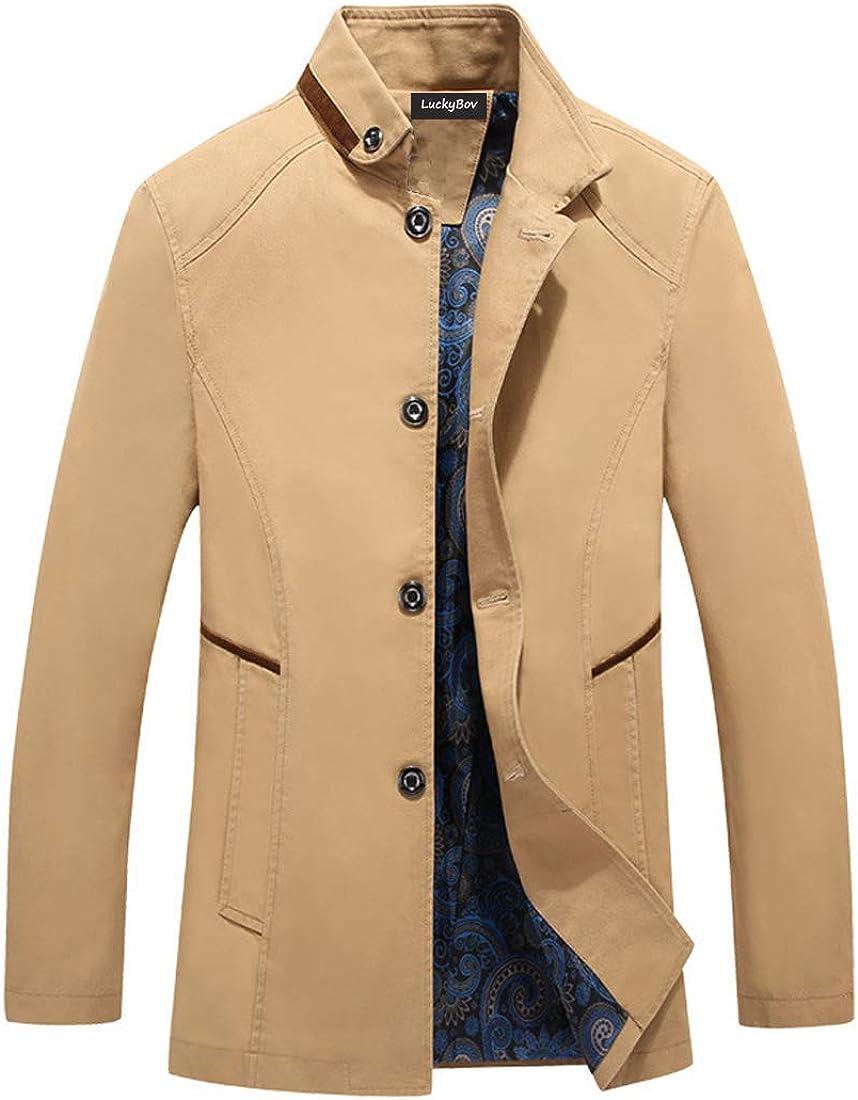 LuckyBov SALENEW very popular! Men Single Breasted Cotton Blazer Spring Max 41% OFF Casual Mid-Lon