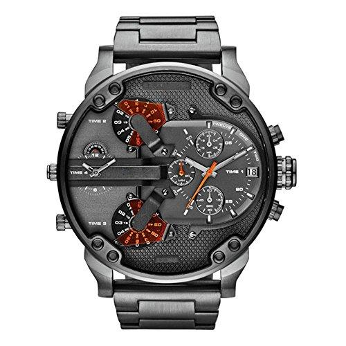 ishine Armbanduhr Männer Edelstahl Analog Quarzuhr Uhr Herren Sport Quarzuhr mit großem Zifferblatt Uhr für Herren