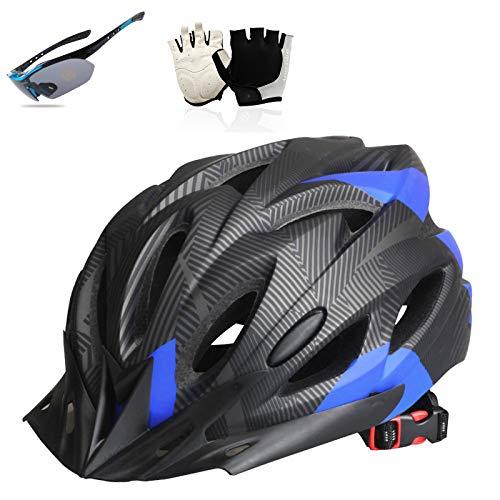 HVW Casco de Bicicleta, Casco de Bicicleta para Adultos con Guantes de luz Trasera de Seguridad LED y Gafas Ciclismo Casco Casero Urbano para Hombres y Mujeres 22-24 en,Azul