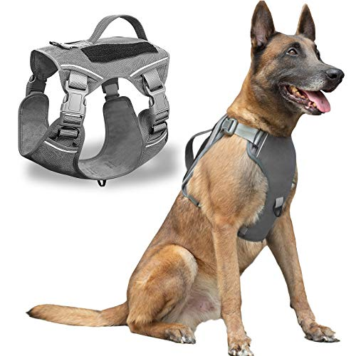DUUKTPO Tactical Service Dog Harness, Adjustable Soft Dog Vest Without Traction Rope, Reflective Pet Training Vest with Large Dog Handle (Gray)