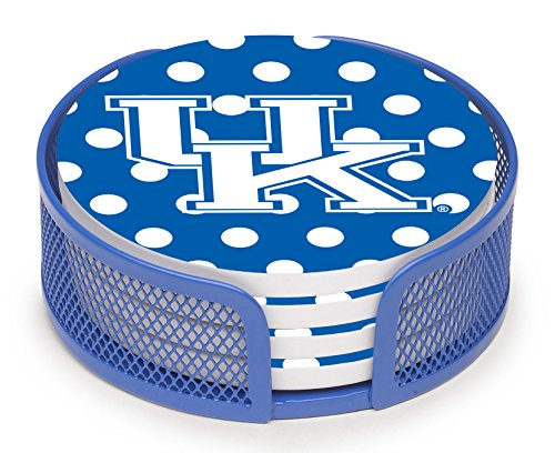 Thirstystone Stoneware Drink Coaster Set with Holder, University of Kentucky Dots