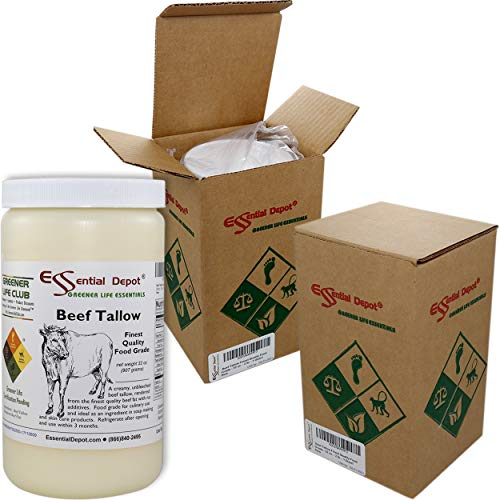 Beef Tallow - 1 Quart (32 oz nt wt) - GRASS FED - Non-GMO - Not Hydrogenated - USP Compliant - FREE from LACTOSE-GLUTEN-GLUTAMATE-BSE - safety sealed HDPE container with resealable cap