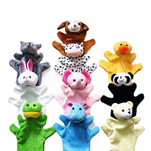 Happy Cherry - 10 Assortiment Marionnette à Main et Marionnette à Doigt en Forme d'animaux - Peluche Doudous pour Enfant bébé