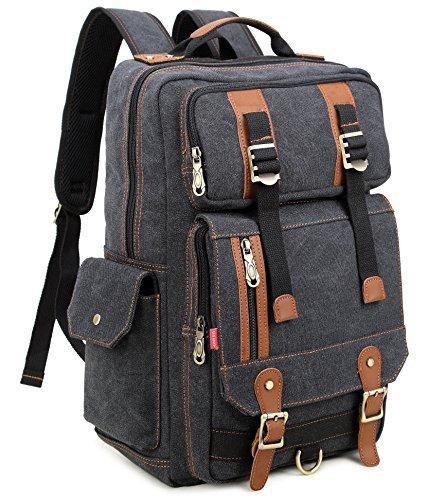 Crest Design Canvas Hiking Travel Daypacks School 16 Inch Laptop Backpack Rucksack 30L (Black)