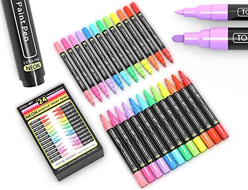 24 neon fluorescerende acrylverf pennen markerset 0,7 mm extra fijne en 3,0 mm middelgrote puntcombinatie voor rotsen…