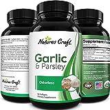 Heart Health Garlic Supplement Odorless - Odorless Garlic Softgels and Parsley Pills for Immune Support Bone Strength Cholesterol and Brain Support - Odorless Garlic Pills and Allicin Supplement