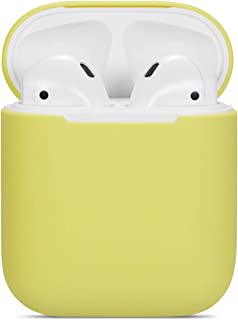 Airpods Case Soft Silicon Skin and Cover with Utral Slim 0.8mm Compatible Apple Airpods Charging Case - Yellow