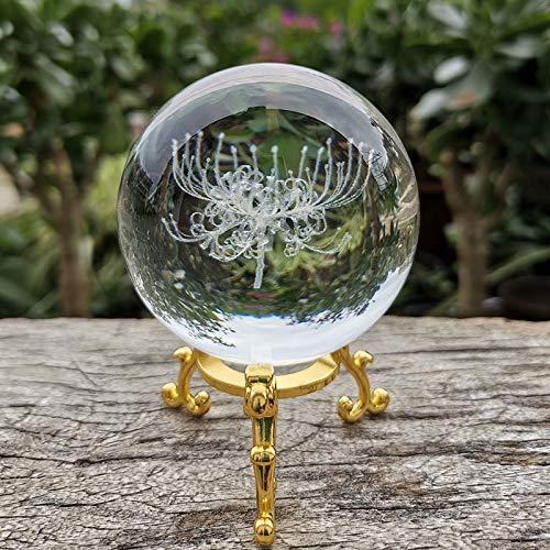 Adivinación con Bola de Cristal Cristal 3D Bola Equinox Flor Figurine Vidrio Láser Grabado Esfera Papel Papel Papel Desenombros Decoración Ornamentos Artesanía Regalos Bola de Cristal