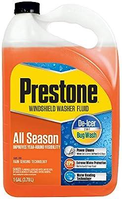 Prestone AS658 All Season 2-in-1 Windshield Washer Fluid, Year Round, De-Icer + Bugwash, 1 Gallon