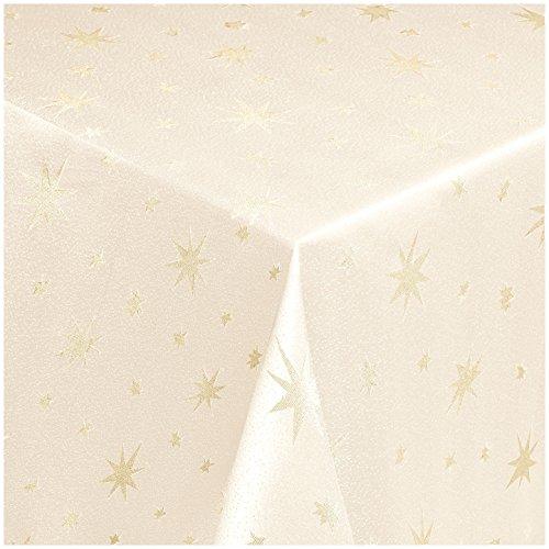 MODERNO Lurex Sterne Tischdecke Eckig 130x260 cm Creme Gold, Weihnachtstischdecke Größe und Farbe wählbar (Gold, Silber oder Rot glänzend)
